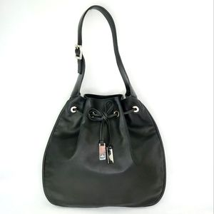 Authentic Vintage GUCCI Black Leather Drawstring Hobo Bag